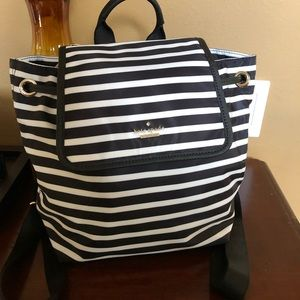 Kate Spade ♠️ Black and white striped backpack